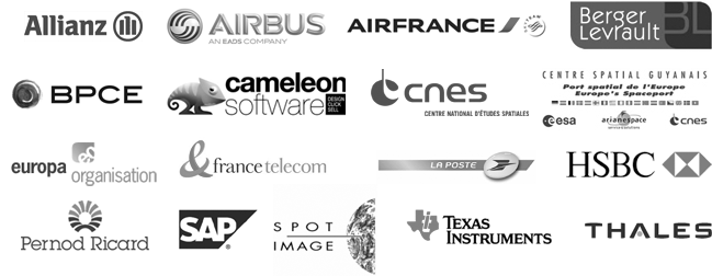 Allianz, Airbus, Air France, Berger-Levrault, BPCE, Cameleon Software, CNES, CSG, Europa Organisation, France Telecom, La Poste, HSBC, Pernod-Ricard, SAP, Spot Image, Texas Instruments, Thales Communications